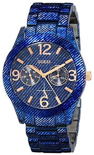 新発売 【当店1年保証】ゲスGUESS Women's U0288L1 Dazzling Blue Denim Hi-Shine Sport Watch, クイーンズコレクション 5624170d