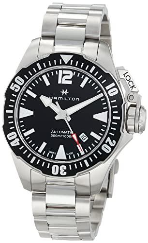 2019人気No.1の Navy Automatic Dial Black H77605135 Watch Mens Khaki Frogman 【当店1年保証】ハミルトンHamilton-腕時計メンズ
