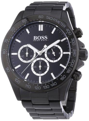 お待たせ! 【当店1年保証】ヒューゴボスHugo Boss Black Dial SS Chronograph Quartz Men's Watch 1512961, 都幾川村 63650f0f