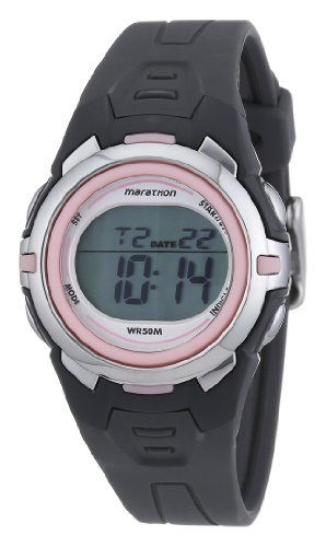【当店1年保証】タイメックスMarathon by Timex Women's T5K360 Digital Mid-Size Dark Gray/Pink Res