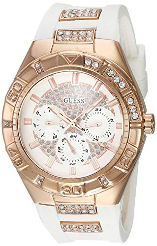 愛用  【当店1年保証】ゲスGuess W0653L4 Women's Luna Crystal White Dial Rose Gold Steel & White Silicone S, 舞杏BUAN d65059d5