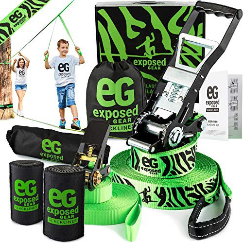 Perfect Slackline For Kids and Adults Exposed Gear Cover Arm Trainer Set Up Instruction Booklet and Carry Bag Complete 60 ft Slack Line Set Slackline Kit with Training Line Tree Protectors High Grade Ratchet