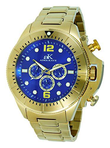 送料無料 【当店1年保証】アディーケイAdee Kaye Mens Sports SS Chronograph Watch with Crown Protector-Gold, 二見町 24dbd84d