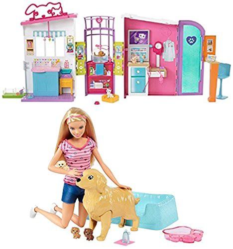 独特な Barbie Care Center Includes Barbie Playset Pet Items 2 Newborn & and - Pets Doll Plays Pups バービーBundle-おもちゃ