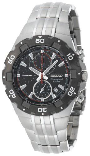 春先取りの 【当店1年保証 Silver-Tone】セイコーSeiko Men's SNAD35 Alarm Silver-Tone Black Bezel Sport SNAD35 Alarm Chronograph Watch, コウリョウチョウ:768c3da7 --- kzdic.de
