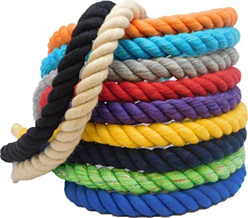 激安店舗 海外正規品Ravenox Natural Twisted Cotton Rope | (Black)(1/4 Inch x 600 Feet) | Made in The USA | Strong T, ゴルフセオリー 781c3325