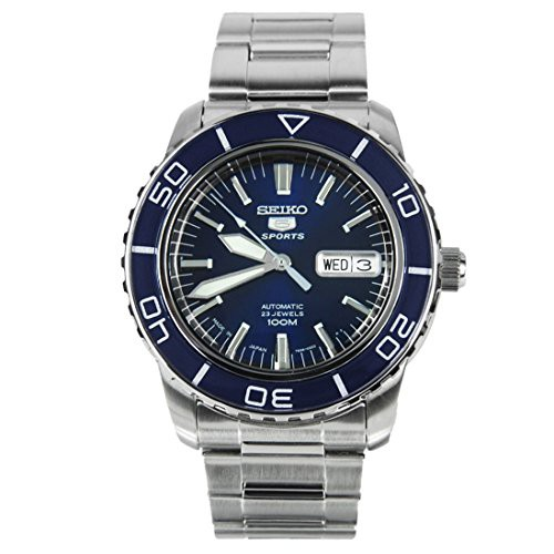 お気にいる 【当店1年保証 Japan】セイコーSeiko 5 Sports SNZH53J1 Japan Steel Men's Stainless Steel Blue Blue Dial Automatic Wa, cute angel:b346595a --- chevron9.de