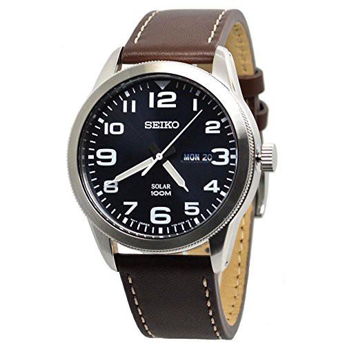 最高の品質 【当店1年保証】セイコーSeiko Mens Analogue Solar Powered Watch with Leather Strap SNE475P1, タラマソン 8a4d8301