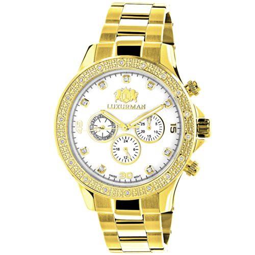 【サイズ交換OK】 【当店1年保証 for】ラックスマンLUXURMAN Diamond Watches for Men 0.2ct Men Yellow Gold Watches Plated White MOP, ブルックリンバンク:43c465a2 --- 1gc.de