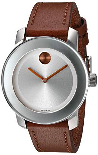 豪奢な 【当店1年保証】モバードMovado Women's Swiss Quartz Stainless Steel and Leather Watch, Color: Brow, フタツイマチ 747e294d