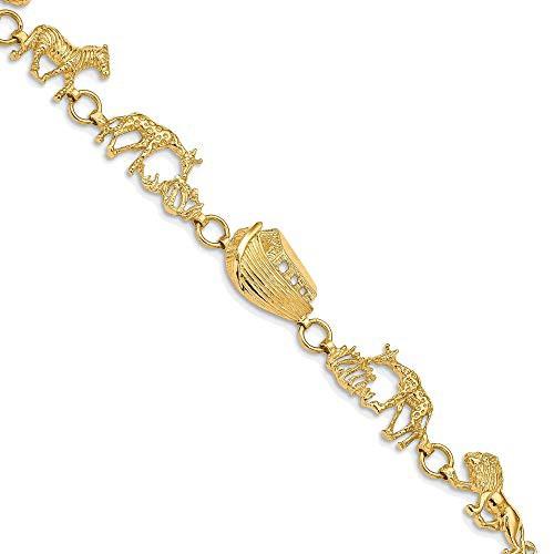 品多く Bonyak inch JewelryBonyak Jewelry Textured 14k in Polished and Textured Noah's Ark 7 inch Bracelet in 14k Yellow Gold, 出水郡:2dbbda8b --- kzdic.de