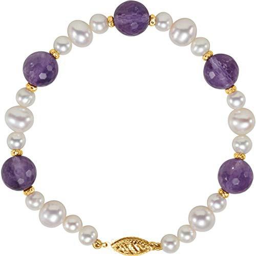 最適な材料 Bonyak Cultured Jewelry14k Yellow Gold Freshwater Cultured Freshwater Pearl Pearl & Amethyst 7.5