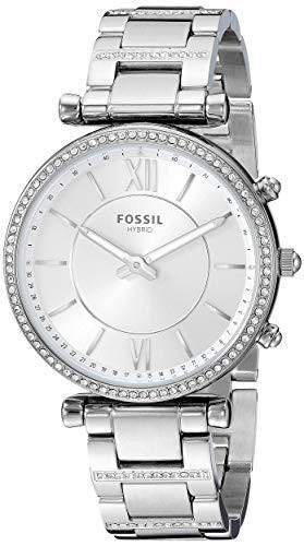 人気商品 【当店1年保証】フォッシルFossil Women's Women's Hybrid Smartwatch Watch with Stainless-Steel Stainless-Steel Strap, Strap, Silv, イナベグン:baf54b0e --- chevron9.de