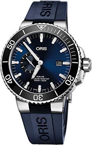 非常に高い品質 Second, Stra Rubber Aquis Men's Small w/ Steel 【当店1年保証】オリスOris Blue Stainless Date Watch-腕時計メンズ