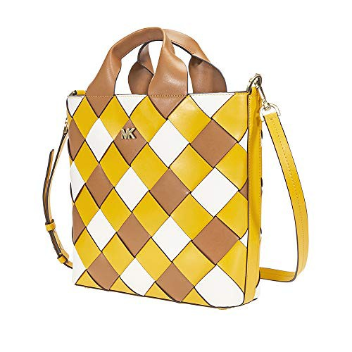 格安人気 マイケルコースMichael Leather Kors Mott Woven Woven Leather Yellow/Optic Market Tote (Jasmine Yellow/Optic White), サンフィールド:82fa1866 --- 1gc.de