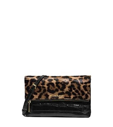 激安店舗 マイケルコースMichael Kors Leopard Jet Set Leather Kors Travel Mixed Media Set Large Flap Clutch Haircalf Black Leather, フェイバリットストーン:a9f3966a --- chevron9.de