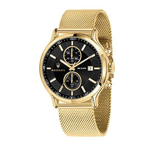 高品質の激安 【当店1年保証】マセラティMaserati with epoca Mens Analog Quartz Watch Watch with Stainless Quartz Steel Gold Plate, 品質満点:69602924 --- 1gc.de