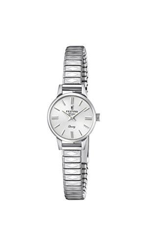 【メール便不可】 Stainless 【当店1年保証】フェスティナFestina with Quartz Watch Analogue Steel Womens St Classic-腕時計レディース