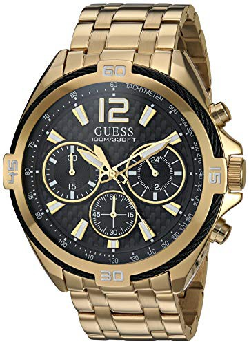 早割クーポン! with Stainless-Steel Watch 21.9 Strap, Japanese Gold, 【当店1年保証】ゲスGUESS (Model: Quartz Men's-腕時計メンズ