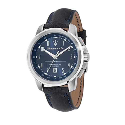 【オンライン限定商品】 Leather Blue Blue Dial Dark Successo R8851121003 Strap 【当店1年保証】マセラティMaserati-腕時計メンズ