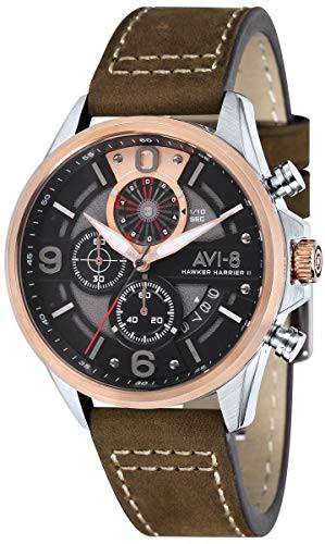 正規代理店 【当店1年保証】アヴィエイトAVI-8 Mens Hawker Harrier ll Watch - Dark Brown/Black, カー用品家電通販の1BOX c0c1101e