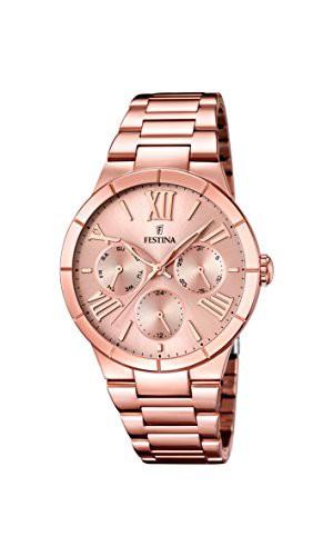 新作商品 Multifunction Watch 【当店1年保証】フェスティナFestina Rose Gold Plated Ladies F16718-2-腕時計レディース