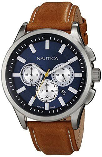 超爆安  【当店1年保証】ノーティカNautica Men's Watch N16695G with NCT 17 Brushed Stainless Steel Brushed Watch with Brown B, アワチョウ:73731976 --- kzdic.de