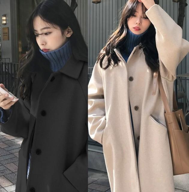 冬物 コート レディース ロングコート レディース 冬コートレディース 韓国 ファッション ベージュ 黒 コート ラグランスリーブ 冬コート