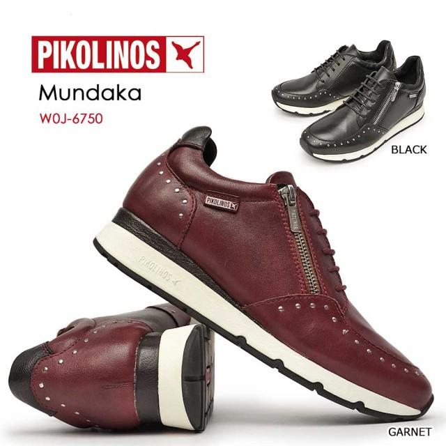 【通販激安】 MUNDAKA 靴 本革 PIKOLINOS ピコリノス コンフォート W0J-6750 本革 スタッズ ファスナー PK801 レディース レザースニーカー-靴・シューズ