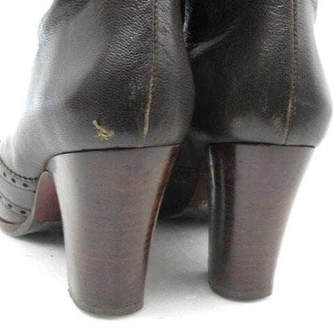 チエミハラ CHIE MIHARA ショートブーツ レザー メダリオン ルーズ 焦茶 ブラウン系 35 靴 レディース ベクトル【中古】