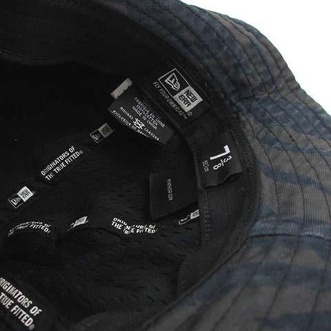 ニューエラ NEW ERA 帽子 バケットハット ミリタリー 総柄 メッシュ 迷彩 ネイビー ブルー 綿100 73/8 58.7cm 180128 小物 メンズ