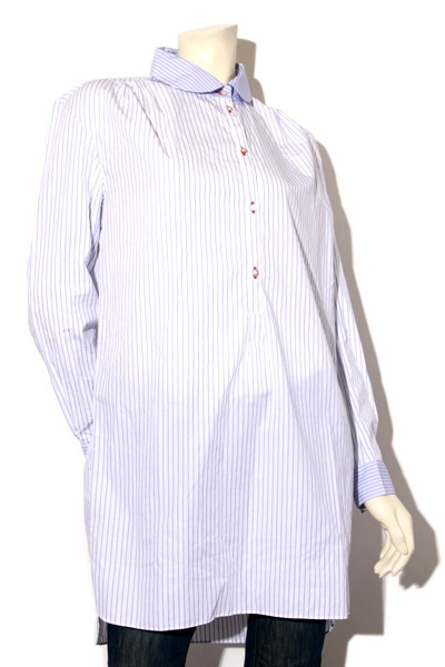 【】thierry colson ティエリーコルソン ストライプ 長袖プルオーバーシャツ ワンピース M /◆☆ レディース