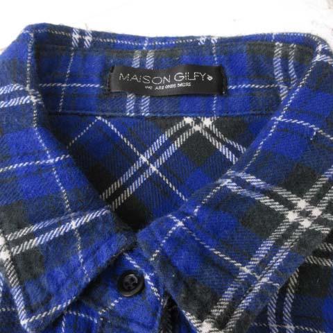メゾンギルフィー MAISON GILFY 長袖 ネル シャツ チェック 刺繍 ブルー F S-17041505 レディース ベクトル【中古】