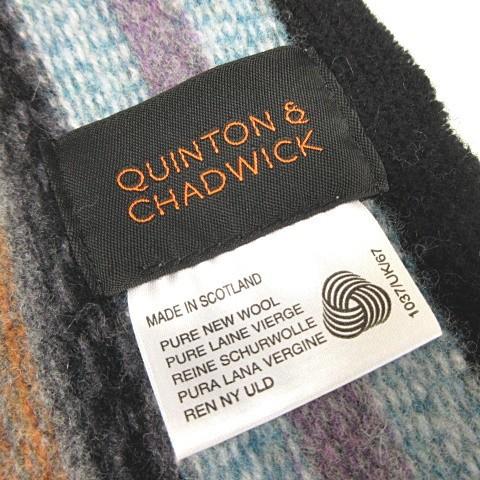 クイントン&チャドウィック QUINTON CHADWICK マフラー ウール 総柄 ブルー系 青系 GP Y-180315 メンズ レディース ベクトル【中古】