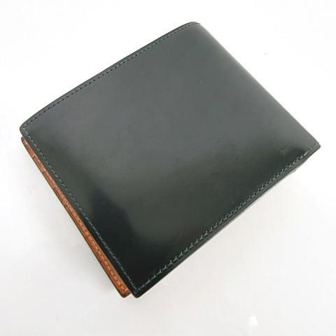 フライングホース FLYING HORSE コードバン 二つ折り 財布 ウォレット レザー 本革 グリーン 緑系 Y-18022107 メンズ ベクトル【中古】