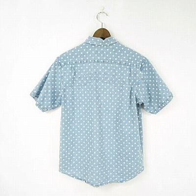 e5530d6ef8 SUPREME 18SS Polka Dot Denim Shirt Light Blue ドット デニム シャツ バックロゴ 半袖 ライトブルー