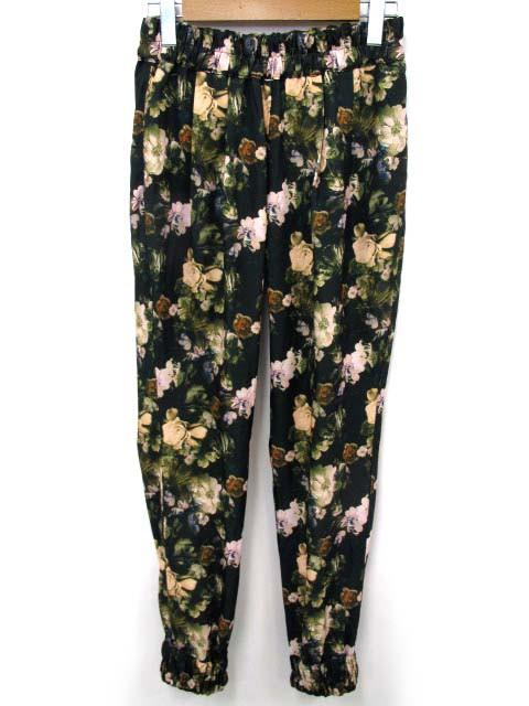 スライ SLY SEMI CHROME FLOWER PT ジョガー パンツ ギャザー 花柄 ダークグリーン 緑系 2 170816OK レディース ベクトル【中古】