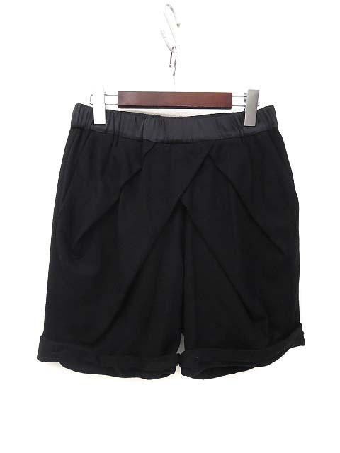 【】フライングクロス タック イージーウエスト ロールアップ デザイン ウール ショート パンツ ブラック