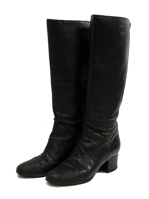 e9e8a8c82d31 シャネル CHANEL ロング ブーツ レザー 黒 ブラック サイズ38C ビブラムソール CC ココマーク ローヒール レディース