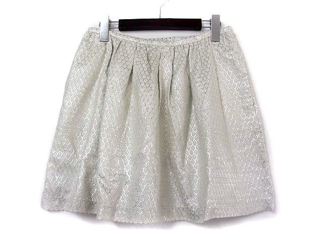 【】ポール&ジョー シスター PAUL&JOE SISTER スカート 38 ベージュ シルバー コットン 刺繍 フレア レディース