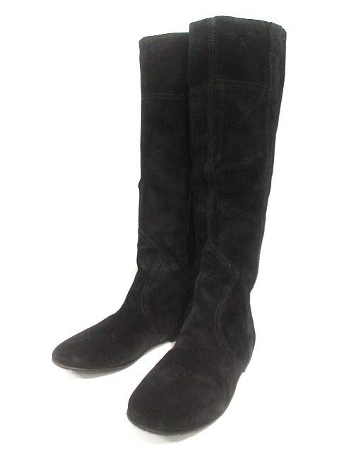 【】ジョイア デラクア GIOIA DELL'ACQUA ロング ブーツ 37 23.5cm 黒 ブラック 98801 スエード レディース