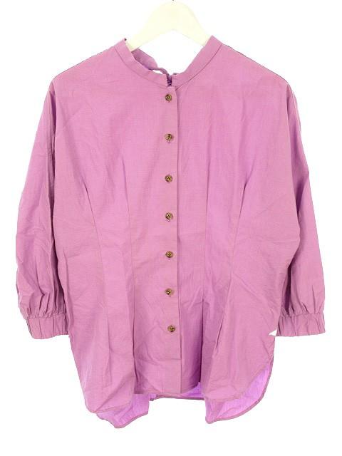 【】ザヴァージニア The Virgnia バック リボン 袖ボリューム ブラウス 900 スタンドネック 七分袖 ピンク系 トップス レディース