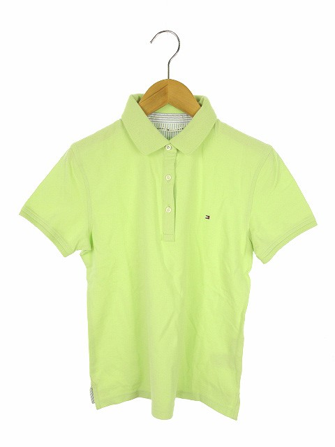 【】トミーヒルフィガー TOMMY HILFIGER ポロシャツ カットソー 半袖 S パステルグリーン 黄緑 トップス