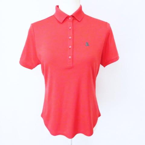 【】ランバン スポーツ LANVIN SPORT ワンポイント ロゴ刺繍 半袖 ポロシャツ 赤レッド 38 レディース