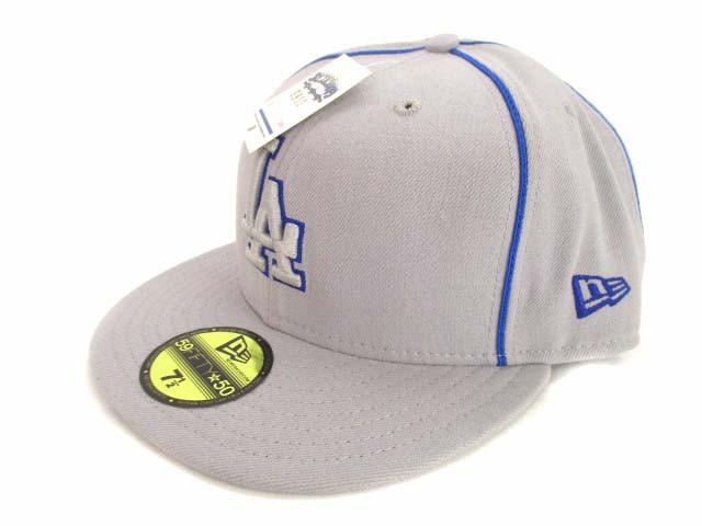 【】未使用品 ニューエラ NEW ERA ベースボールキャップ 野球帽 帽子 キャップ 刺繍 グレー サイズ59.6cm ウール