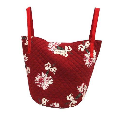 【】インゲボルグ INGEBORG トートバッグ キルティング バケツ型 カーネーション柄 花柄 ビンテージ 赤 レッド