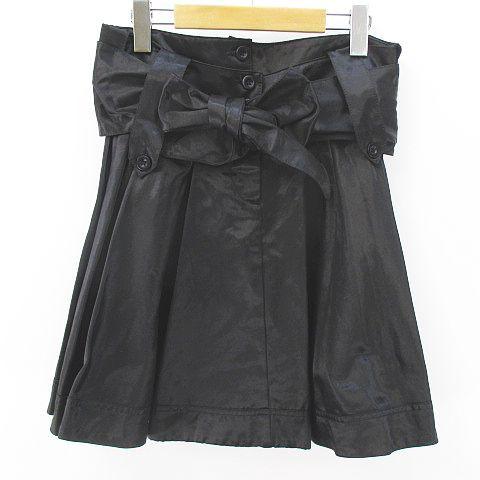 【】シーバイクロエ SEE BY CHLOE 膝上 ミニ フレアスカート 38 黒 ブラック リボン 綿 コットン 裏地 レディース