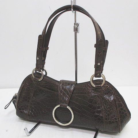 雑誌で紹介された ブラウン クロコダイル 茶 革 レディース レザー バッグファン 【】bagfan ハンドバッグ-バッグ