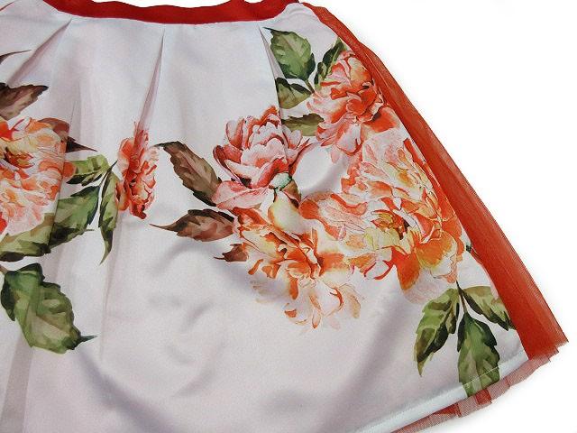 未使用品 ミリオンカラッツ Million Carats スカート ミニ フレア 花柄 フラワー チュール タック 赤 M ※M- レディース