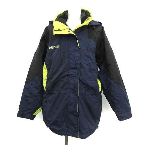 【】コロンビア Columbia ジャケット マウンテンパーカー L 紺 黒 黄色 ネイビー ブラック イエロー レディース